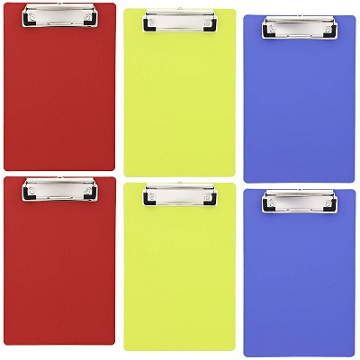 "Juvale 6 Pack Heavy Duty Plastic Clipboards Memo Holder with Low Profile Clip and Hook Small Hardboard in 6""x9"" Mimi Colorful Clipboard Sturdy Durable"