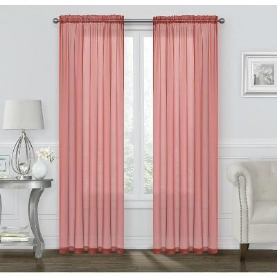 Kate Aurora Coastal Pastel Colored Sheer Voile Window Curtains