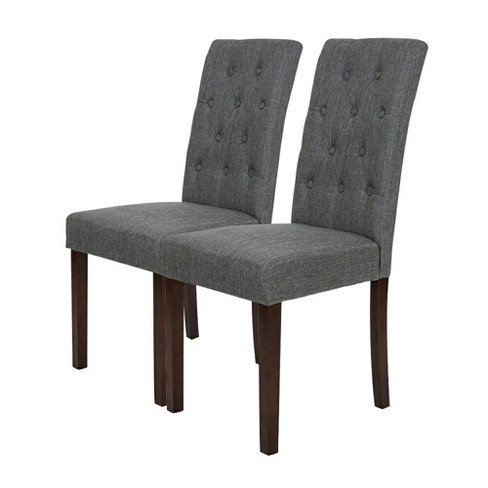 Set of 2 Tufted Back Upholstered Dining Chair - Dark Gray - Glitzhome - image 1 of 7