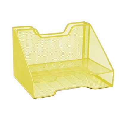 Mind Reader 3 Section Mesh Desk File Organizer Yellow