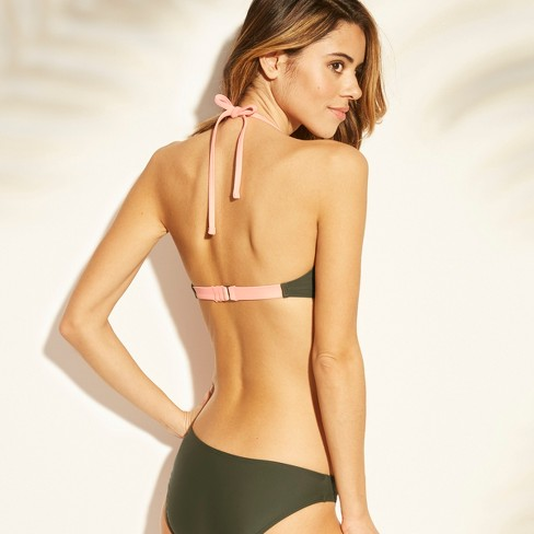 8150fbd7f9449 Women s Zip Front Ribbed Bralette Bikini Top - Xhilaration™   Target