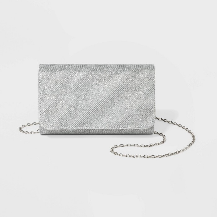 Estee & Lilly Sparkle Jacquard Small Flap Clutch - Silver - image 1 of 3