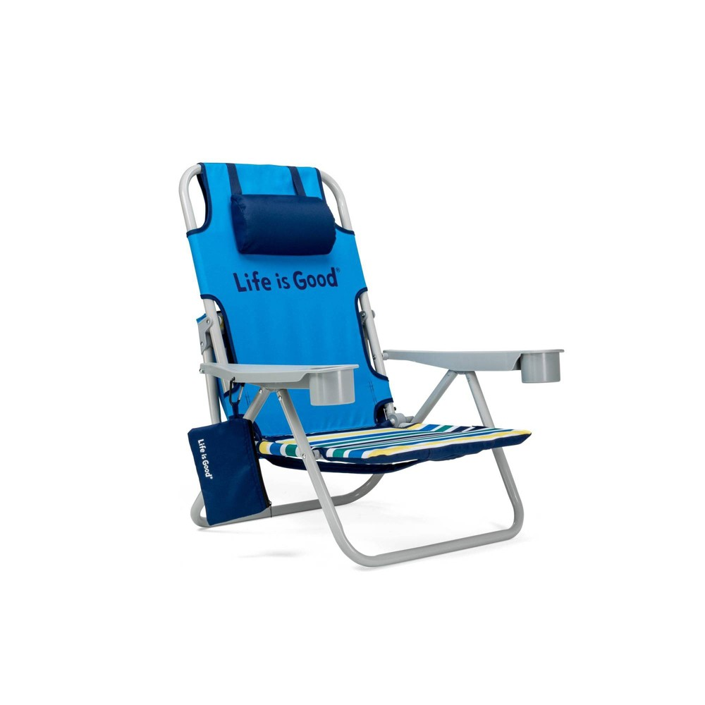 Image of Aluminum Folding and Reclining Beach Chair Jake Blue - Life is Good