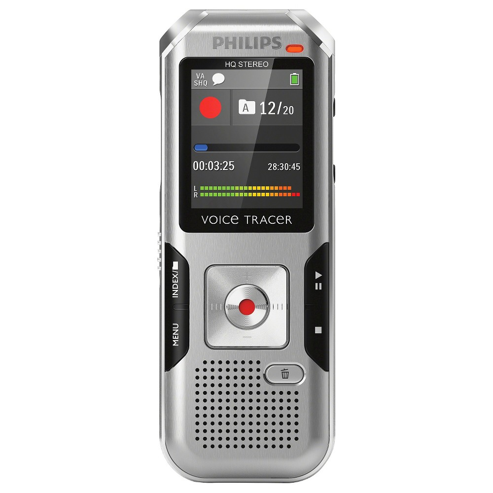 Philip Voice Tracer 4000 Digital Voice Recorder with 4GB Internal Memory - Silver/Black (DVT400000) The Philips Voice Tracer 4000 Digital Voice Recorder with 4GB Internal Memory in Silver/Black (DVT400000) has a built-in stereo microphone and multi-function Lcd display. This handheld audio recorder supports Wav and MP3 files.