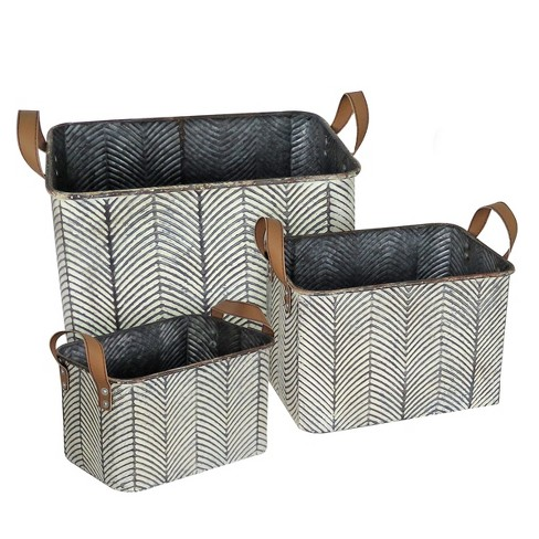 Set Of 3 Rustic Whitewashed Pattern Galvanized Metal Decorative Storage Bins With Faux Leather Handles Foreside Home And Garden Target