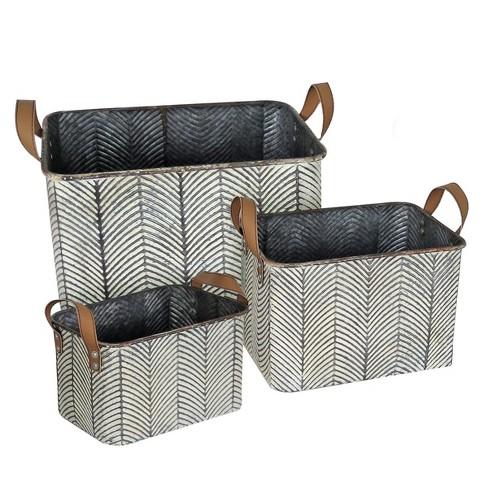 Set Of 3 Rustic Whitewashed Pattern, Faux Leather Storage Bin Target