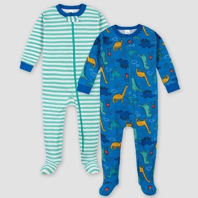 Gerber Boys' 2pk Footed Pajama - Blue 9M