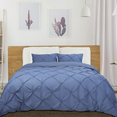 3 Pcs Polyester Solid Pinch Pleate Pintuck Bedding Sets Queen Blue - PiccoCasa