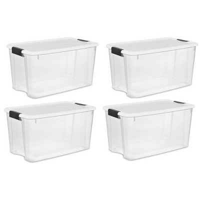 Sterilite Large 70 Qt Clear Base Ultra Latch Storage Container Box Tote