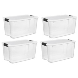 Sterilite Large 70 Qt Clear Base Ultra Latch Storage Container Box Tote (4 Pack)