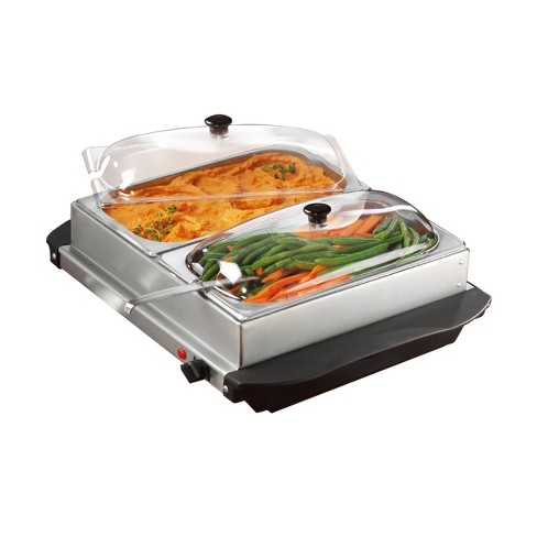 Brentwood 3 Quart 2 Pan Buffet Server and Warming Tray in Brushed Stainless Steel - image 1 of 4