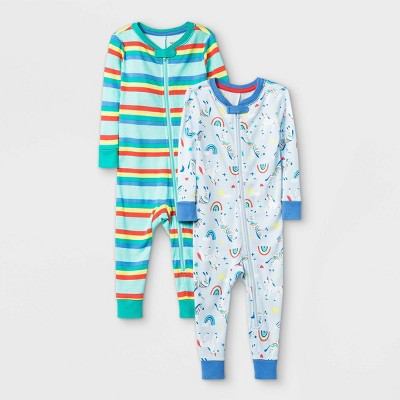 Toddler Girls' 2pk Unicorn 100% Cotton Pajama Jumpsuit - Cat & Jack™ Blue