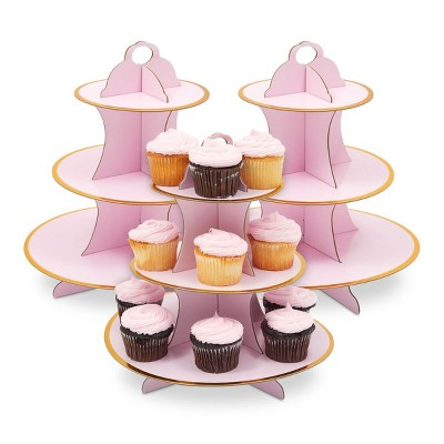 Sparkle and Bash 3 Pack 3-Tier Cardboard Cupcake Stand for Baby Shower (12 x 12 in, Pink)