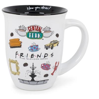 Silver Buffalo Friends Logo Icon Toss 16oz Wide Rim Ceramic Mug