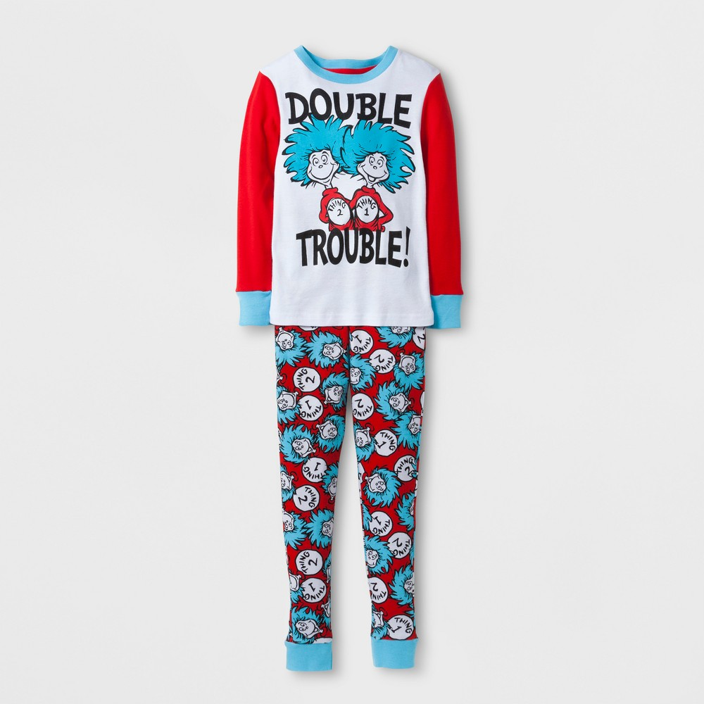 Image of Girls' Dr. Seuss Thing Double Trouble Pajama Set - Multi-Colored 6, Girl's, Black/Red/White