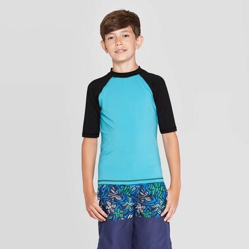 Boys' Short Sleeve Rashguard - Cat & Jack™ Blue - image 1 of 3