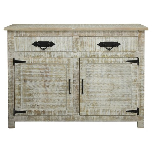 Solid Mango Wood 2 Door Storage Cabinet With 2 Drawers And Metal