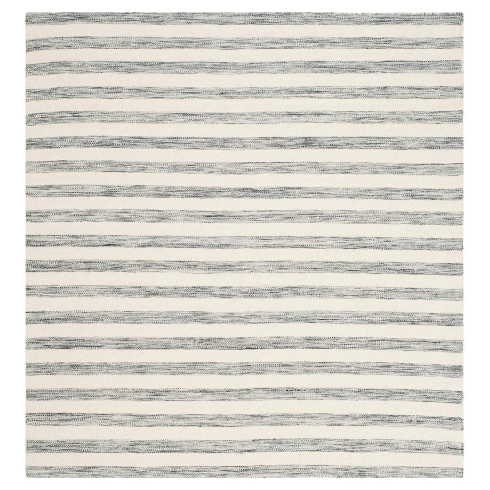 Roland Dhurrie Area Rug - Gray / Ivory (6' X 6') - Safavieh, Gray/Ivory