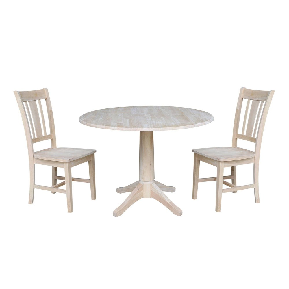"Image of ""30.3"""" Carter Round Table with Two San Remo Chairs Blue - International Concepts"""