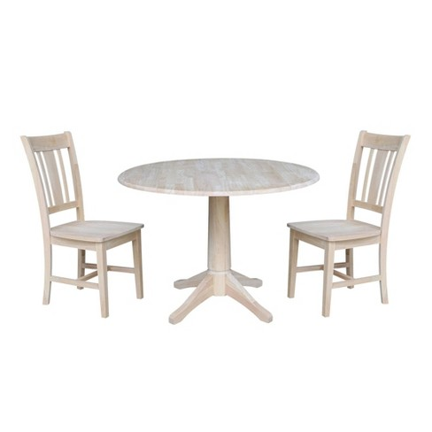 "30.3"" Carter Round Table with Two San Remo Chairs Blue - International Concepts - image 1 of 4"