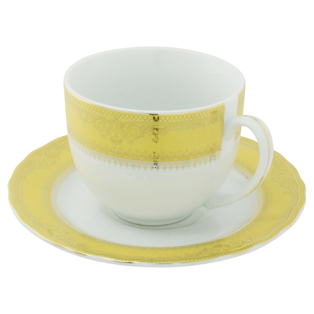 Vanessa Cup and Saucer Ballet Gold .9oz Set of 6 - Ten Strawberry Street, White/Gold Band