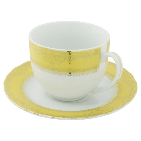 Vanessa Cup and Saucer Ballet Gold .9oz Set of 6 - Ten Strawberry Street - image 1 of 2