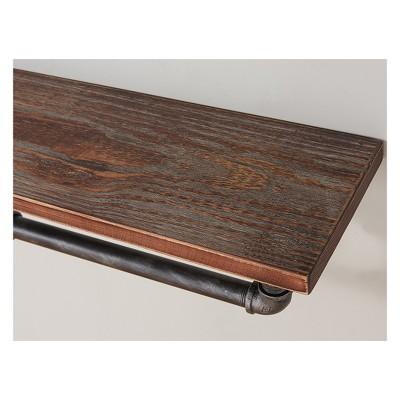 Jarrett Industrial Pine Wood Floating Wall Shelf 24  in Gray and Walnut Finish - Armen Living