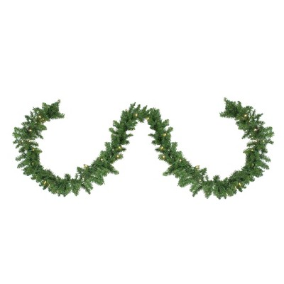 """Northlight 9' x 10"""" Pre-Lit Northern Pine Artificial Christmas Garland - Warm White LED Lights"""