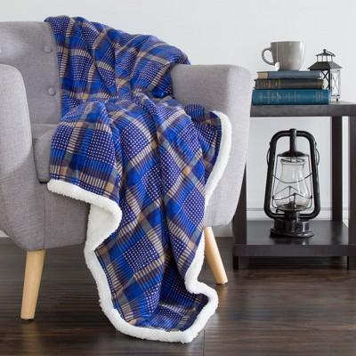 Hastings Home Fleece Sherpa Blanket Throw - Plaid Blue/Yellow