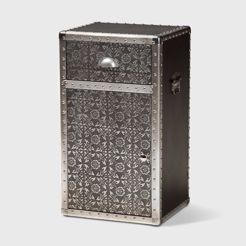 Cosette Metal Floral Accent Cabinet Silver - Baxton Studio - image 1 of 4