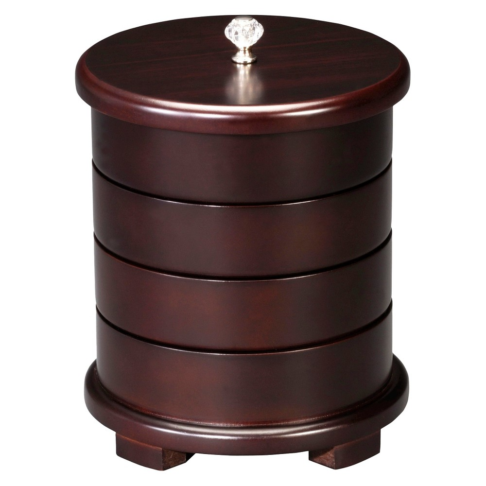 HomePointe Wooden Swivel Jewelry Box - Chocolate (Brown) Store all your jewelry in style with this Wooden Swivel Jewelry Box - Chocolate from HomePointe. Featuring four different compartments for keeping all your favorite jewelry and accessories safe. The velvet beige lining on the insides keeps your jewelry from scratches, while the weighted base at the bottom keeps this chic designer jewelry box balanced. Swivel the layers at different arrangements to create a comprehensive vision of your jewelry collection. Gender: Female. Age Group: Adult.