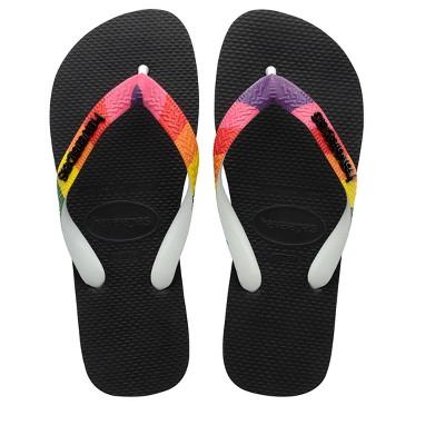 Havaianas - Women's Top Pride Strap Flip Flop Sandal - Black with Rainbow Strap