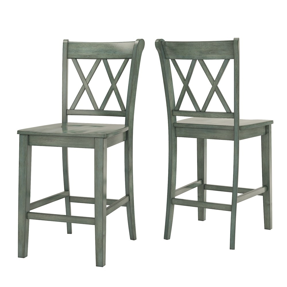 Excellent South Hill X Back 24 In Counter Chair Set Of 2 Antique Aqua Inzonedesignstudio Interior Chair Design Inzonedesignstudiocom
