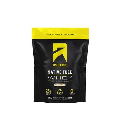 Ascent Native Fuel Whey Protein Powder - Vanilla Bean - 1lbs