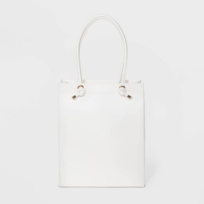 Zip Closure Tote Handbag - A New Day™ White