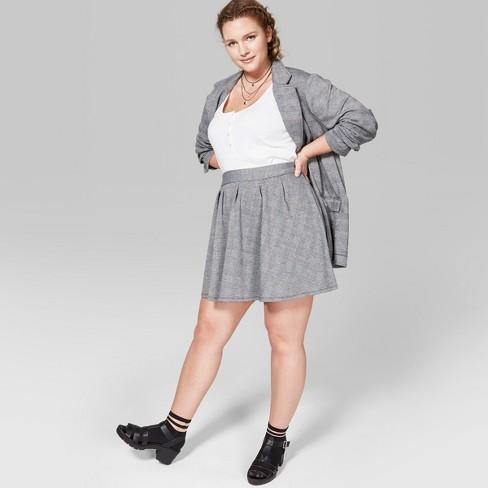 68c39c77b4 Women's Plus Size Plaid Mini Skirt - Wild Fable™ Gray : Target