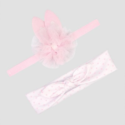 Baby Girls' 2pk Bunny Headwrap - Just One You® made by carter's Pink/White One Size