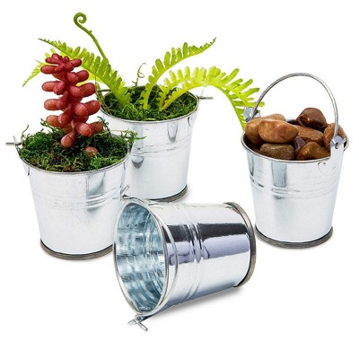 48-Count 2-Inch Mini Silver Metal Tin Bucket Pails with Handles for Party Favors and Succulents