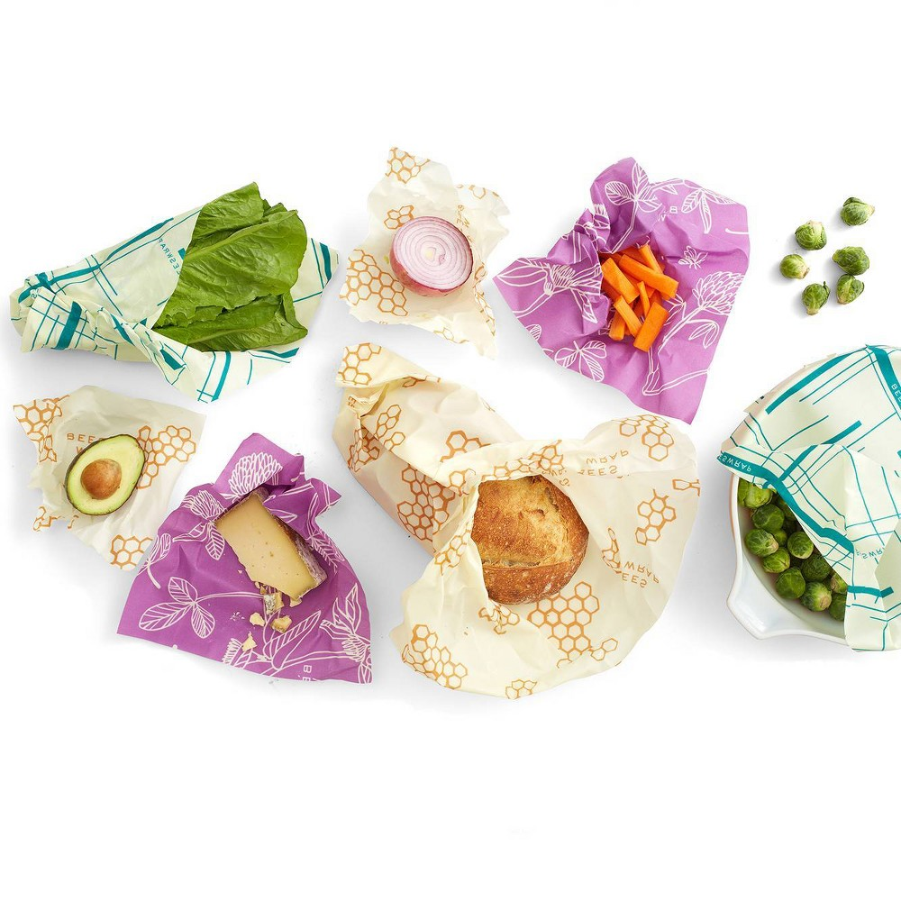 Bee 39 S Wrap 7pk Reusable Beeswax Food Wrap Sustainable Plastic Free Variety Pack