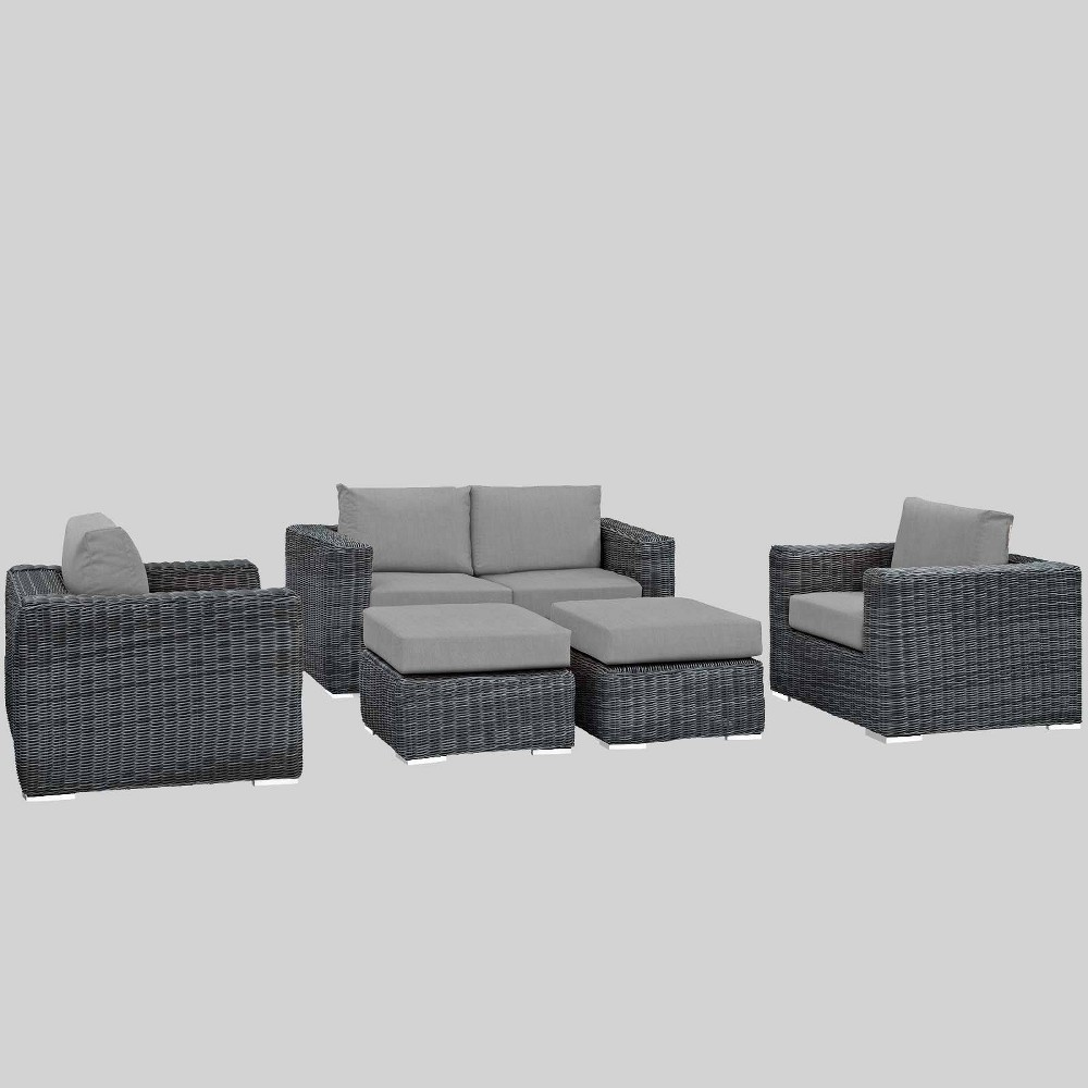 Summon 5pc Outdoor Patio Sectional Set with Sunbrella Fabric - Gray - Modway