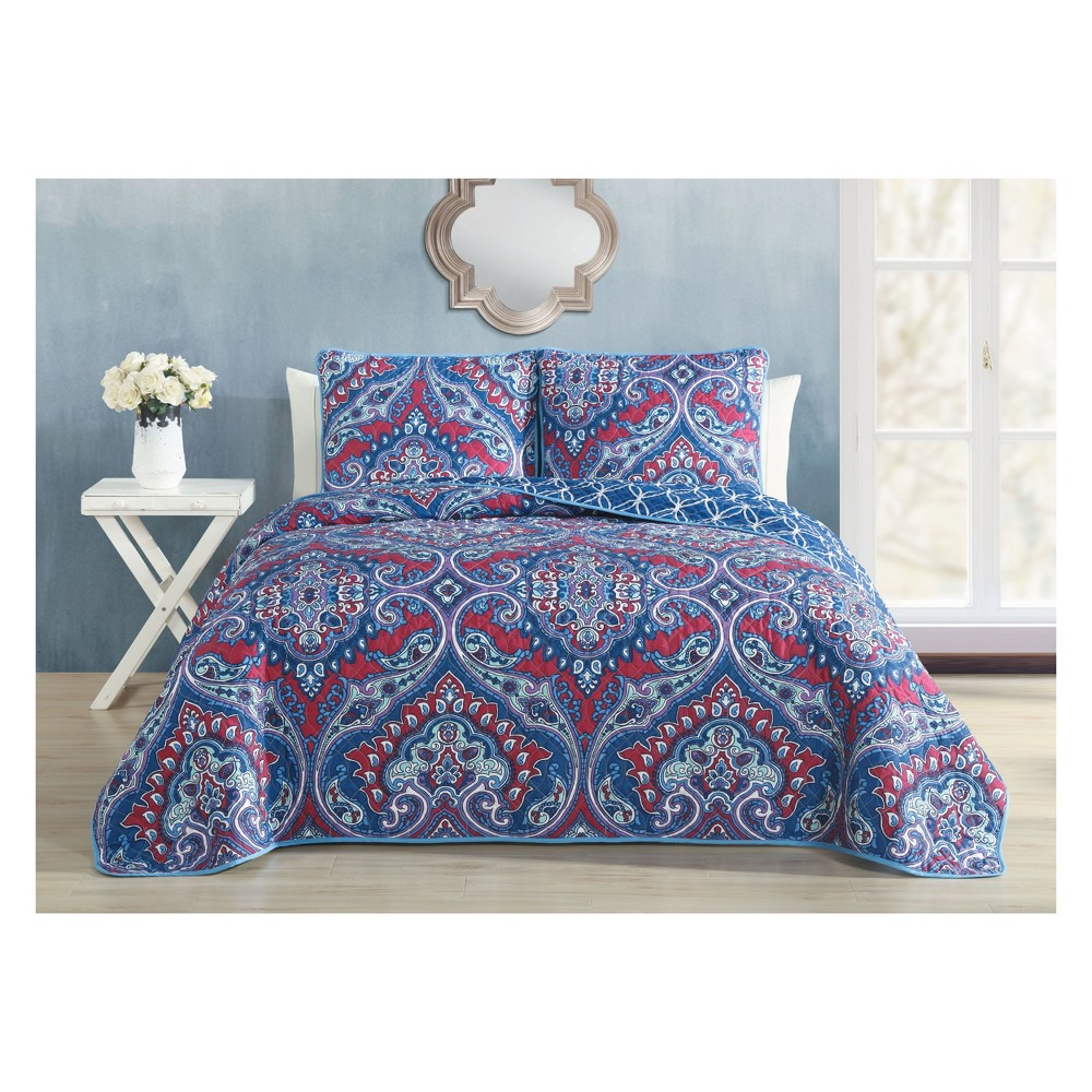 Image of 3pc King Cantara Quilt Set Blue - Avondale Manor
