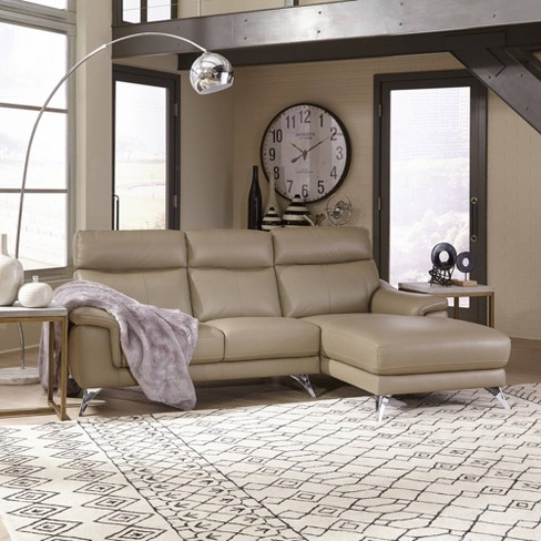 Moderno Leather Contemporary Upholstered Chaise Sofa Beige - Home Styles - image 1 of 3
