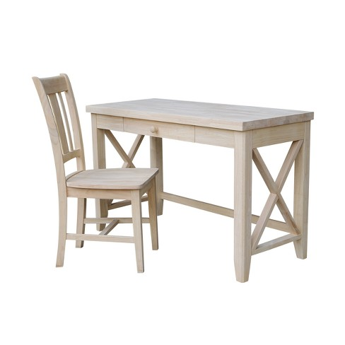 Prime 2Pc Set Hampton Solid Desk And Chair Unfinished Wood International Concepts Dailytribune Chair Design For Home Dailytribuneorg