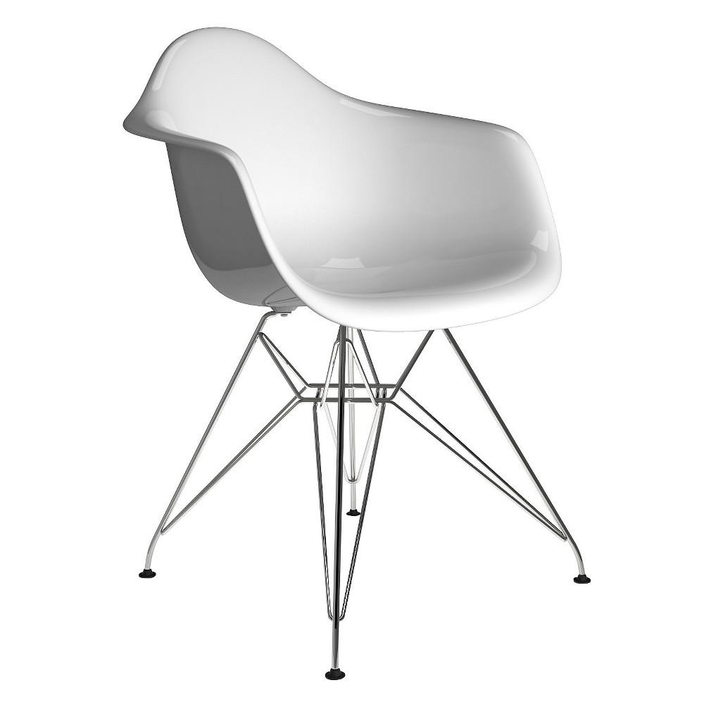 Sasha Mid Century Modern Dining Chair - White Gloss - Aeon