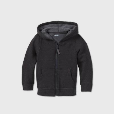 Toddler Girls' Adaptive Abdominal Access Fleece Zip-Up Sweatshirt - Cat & Jack™ Black