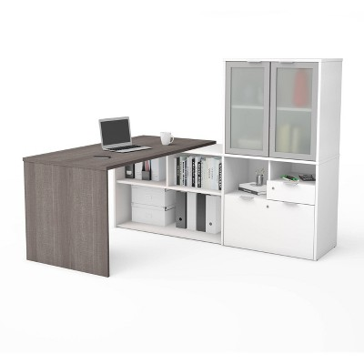 I3 Plus L Desk with Frosted Glass Door Hutch - Bestar
