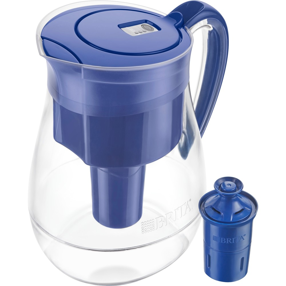 Brita Monterey 10 Cup BPA Free Water Pitcher With 1 Longlast Filter - Blue