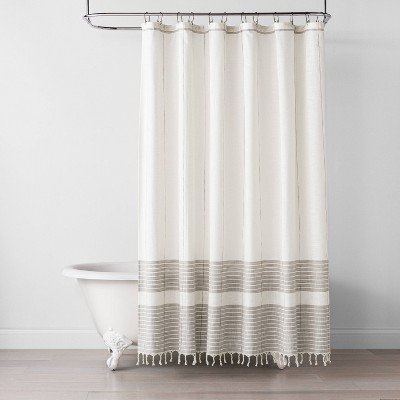 Pick Stitch Braided Tassle Shower Curtain Rust / Sour Cream - Hearth & Hand™ with Magnolia