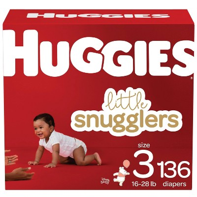 Huggies Little Snugglers Diapers Huge Pack - Size 3 (136ct)