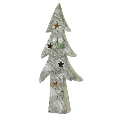 """Northlight 30"""" White and Green LED Lighted Glitter Artificial Christmas Tree Tabletop Decor"""